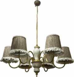"""Г00446628 Основание подвесного светильника """"Гусевъ №238"""" с фарфоровыми декортивными проставками на цепи, латунь, Е-27*6, D=650мм, латунь"""