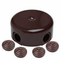 Bironi коробка распределительная D78 с заглушками, пластик, коричневый B1-521-22-K
