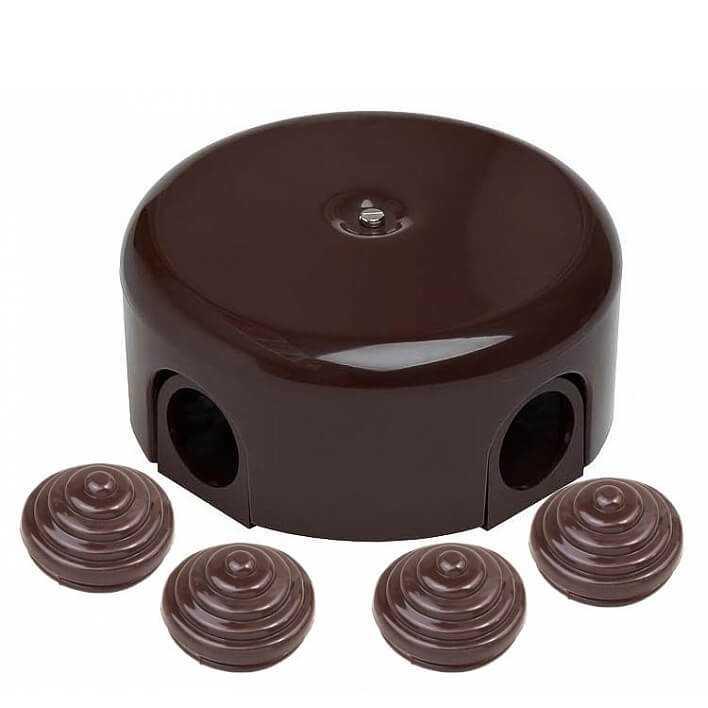 Bironi коробка распределительная-D78 с заглушками, пластик, коричневый B1-521-22-K