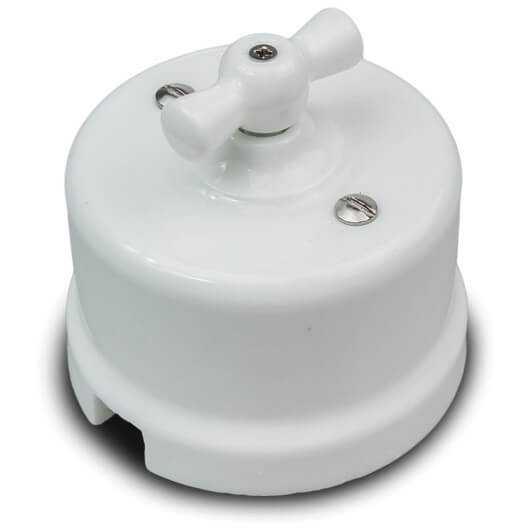 B1-201-01 Bironi Выключатель 1-клавишный, белый, проходной, 10А, 250В, D65*48мм