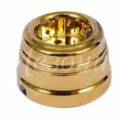 Винтажная розетка фарфоровая двухполюсная, с заземляющим контактом (D70x45, 16А, 250В, IP 20), цвет - золото, МезонинЪ, коллекция Самсон, GE70301-30