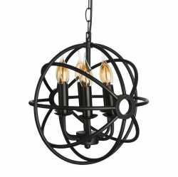 Светильник в старинном стиле лофт подвесной SUN-4 D350 E14 Черный 057-967