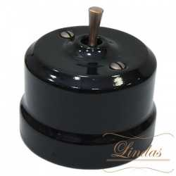Выключатель 1-кл (проходной) тумблерный Lindas 34515-C, цвет черный/медь