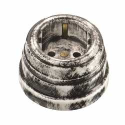 Розетка фарфоровая двухполюсная, с заземляющим контактом (D70x45, 16А, 250В, IP 20), цвет - nero, МезонинЪ, коллекция Art-Decor, GE70301-40