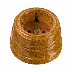 Винтажная розетка фарфоровая двухполюсная, с заземляющим контактом (D70x45, 16А, 250В, IP 20), цвет - giallo, МезонинЪ, коллекция Art-Decor, GE70301-43