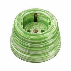 Ретророзетка фарфоровая двухполюсная, с заземляющим контактом (D70x45, 16А, 250В, IP 20), цвет - verde, МезонинЪ, коллекция Art-Decor, GE70301-45