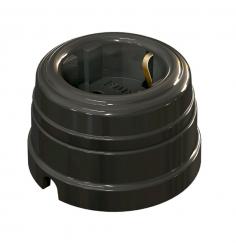 Розетка фарфоровая , двухполюсная, с заземляющим контактом ( D70x45),цвет - черный, МезонинЪ GE70301-05