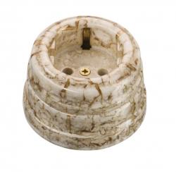 Розетка фарфоровая , двухполюсная, с заземляющим контактом ( D70x45),цвет - мрамор, МезонинЪ GE70301-19