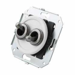 """CL51WT.SL Выключатель тумблерныйный 4-х позиционный для внутреннего монтажа проходной серии """"состаренное серебро"""", белый"""