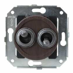 """CL51WG.SL Выключатель тумблерныйный 4-х позиционный для внутреннего монтажа проходной серии """"состаренное серебро"""", венге"""