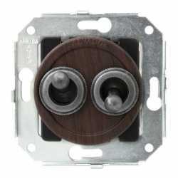"""CL51CH.SL Выключатель тумблерныйный 4-х позиционный для внутреннего монтажа проходной серии """"состаренное серебро"""", вишня"""