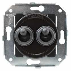 """CL51BR.SL Выключатель тумблерныйный 4-х позиционный для внутреннего монтажа проходной серии """"состаренное серебро"""", коричневый"""