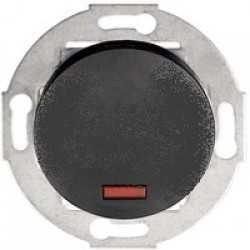 Выключатель одноклавишный (схема 1L) с индикатором 10А, 250В (черный) Vintage 880208-1 - купить в Москве в интернет-магазине Bironirus.ru