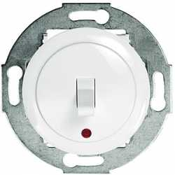 Переключатель 1-рычажковый, на 2 направления, c индикатором (схема 6L) 10 A, 250 B (белый) 880904-1