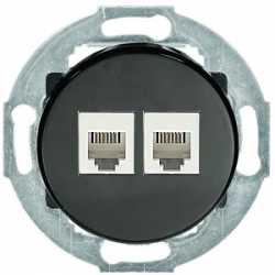 Розетка телефонная 2хRJ-12 с накладкой (черный) 885908-1