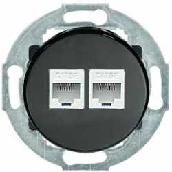 Розетка компьютерная 2хRJ-45 кат. 5е с накладкой (черный) 886208-1