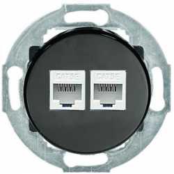 Розетка компьютерная 2хRJ-45 кат. 6 с накладкой (черный) 886408-1