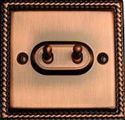 Тумблерный двухклавишный проходной выключатель TJ Electric СМЕ202-2-АС