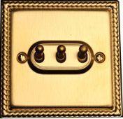 Тумблерный трёхклавишный проходной выключатель TJ Electric СМЕ203-2-MBR