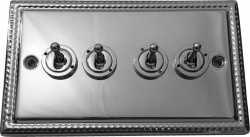 Четырёхклавишный тумблерный выключатель проходной Balfour Grand D1111PC