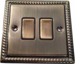 Двухклавишный выключатель проходной Balfour Grand D3022AB