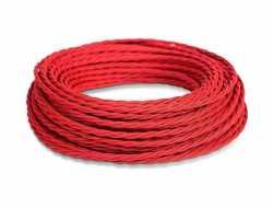 Ретро кабель витой ПВХ 3*2.5, бухта 50м, красный МезонинЪ, GE70152-06