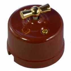 Выключ. 1-кл., проходной, цвет светло-коричневый Retrika арт.R-SW-108