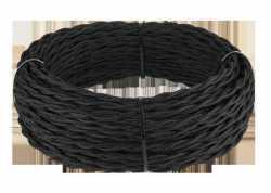 Ретро кабель витой 2х2,5 (черный) арт.WL00404
