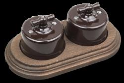 Combi duble-1/Два выключателя 1-клавишных,проходных,в комплекте с 2-местной рамкой B1-201-02/CD-17 Combi duble-1 Коричневый