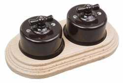 Combi duble-1/ Два выключателя 1-клавишных, проходных,в комплекте с 2-местной рамкой B1-201-02/CD