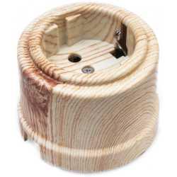 Розетка с заземляющим контактом, пластик, Карельская сосна, Bironi B1-101-13