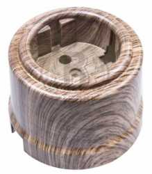 Розетка с заземляющим контактом, пластик, Канадский Клён, Bironi B1-101-14