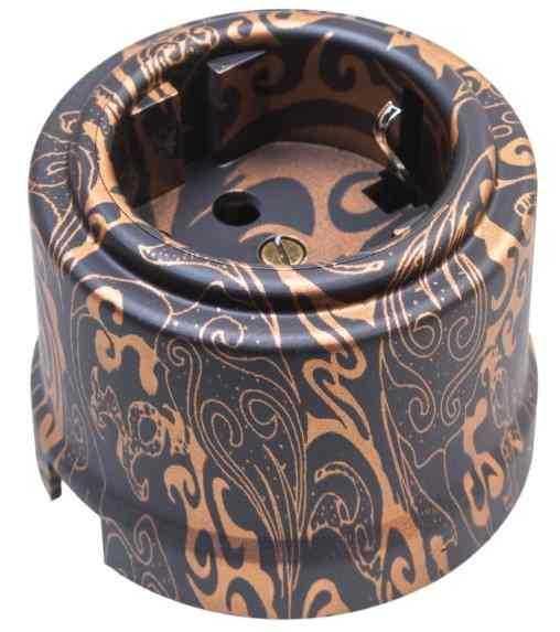 Розетка с заземляющим контактом, пластик, Античная Медь, Bironi B1-101-15