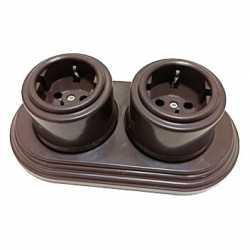 Розетки с заземляющими контактами Combi duble-2 Plastic, коричневый BIRONI, B1-101-22/CDPL2