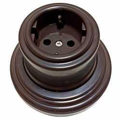 Розетка с заземляющим контактом Combi-2 Plastic, коричневый BIRONI, B1-101-22/CPL2