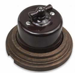 Выключатель 1-кл (проходной) B1-201-02/C-17 Combi-1/BIRONI, 10А, 250В, D65*48мм в комплекте с 1-местной рамкой BIRONI 96*96*21мм
