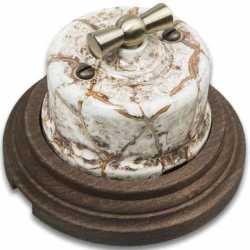 Combi-1/Выключатель проходной на 1 положение в комплекте с 1-местной рамкой Старое дерево мрамор B1-201-09/CD-17