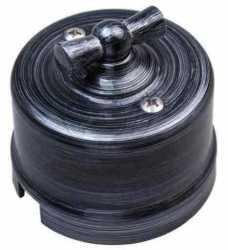 Выключатель 1-клавишный, пластик, серебряный век Bironi B1-201-11 , Серебряный Век