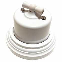 Ретро выключатель одноклавишный проходной Combi-1 Plastic, белый BIRONI, B1-201-21/CPL1