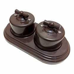 Ретро выключатели одноклавишные проходные Combi duble-1 Plastic, коричневый BIRONI, B1-201-22/CDPL1