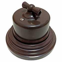 Ретро выключатель одноклавишный проходной Combi-1 Plastic, коричневый BIRONI, B1-201-22/CPL1
