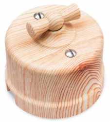 Выключатель 2-клавишный, пластик, карельская сосна Bironi B1-202-13
