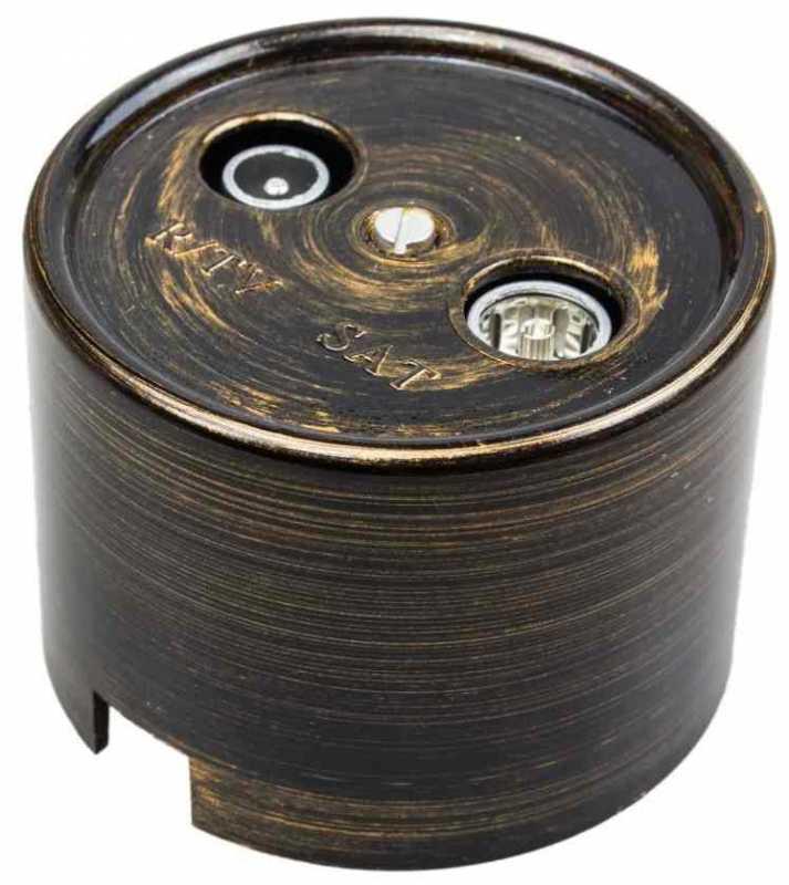 Розетка под старину Bironi B1-305-25 ТV\FM розетка, бронза