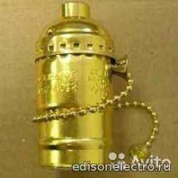 Ретро-патрон для лампы золото с цепочкой,