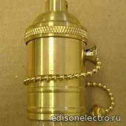 Ретро-патрон для лампы (алюминий) хром без выключателя