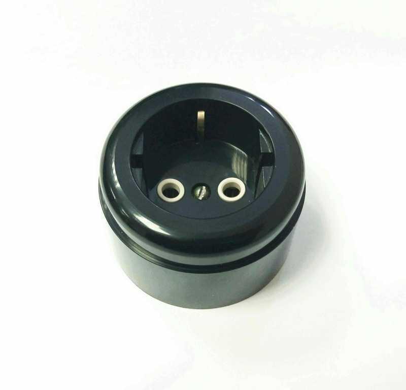 Interior Electric Розетка с/з, о/у, 16А, ABS, black (черный)