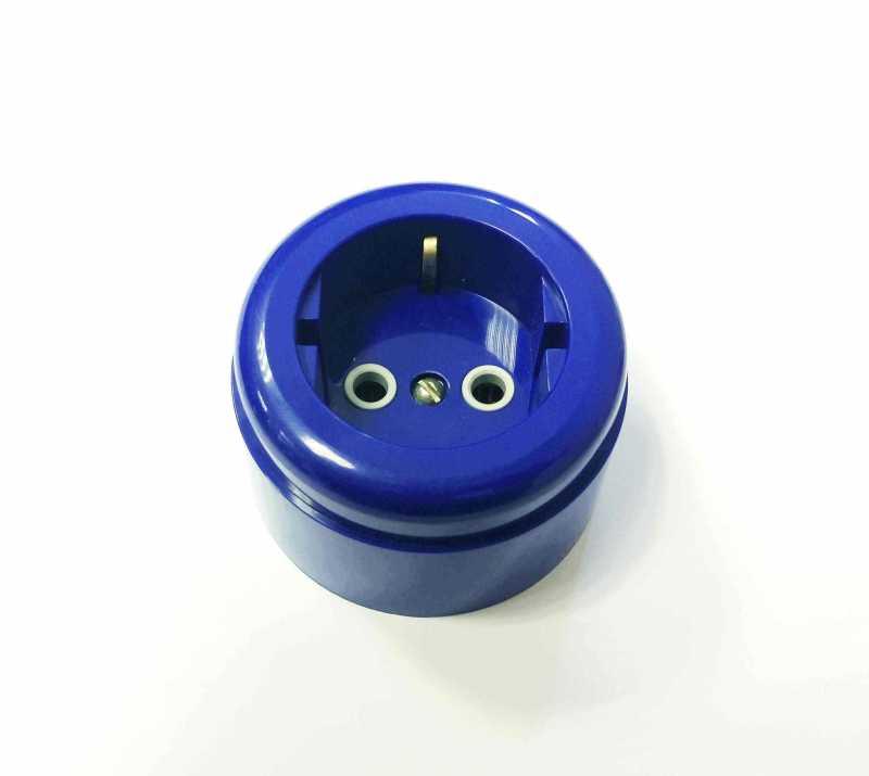 Interior Electric Розетка с/з, о/у, 16А, ABS, blue (синий)