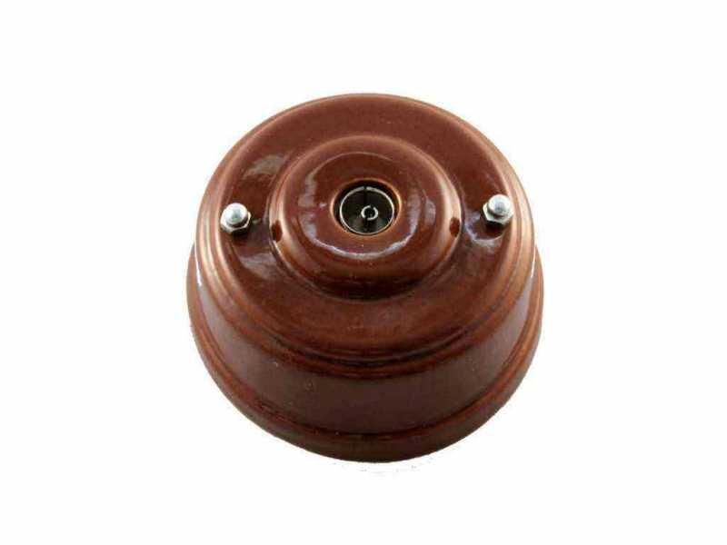 Leanza Розетка телевизионная оконченная, цвет bruno (коричневый), серебристые колпачки РТОКС