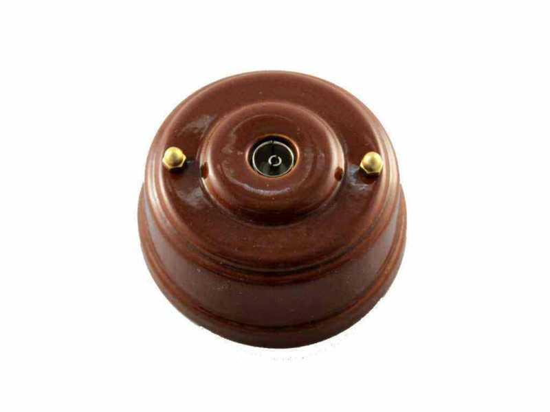 Leanza Розетка телевизионная оконченная, цвет bruno (коричневый), золотистые колпачки РТОКЗ