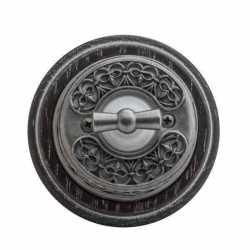 """OP21DN.BR Выключатель поворотный 4-х позиционный для наружного монтажа проходной с декоративной накладкой """"состаренное серебро"""" (2х клавишный, оконечный), коричневый"""